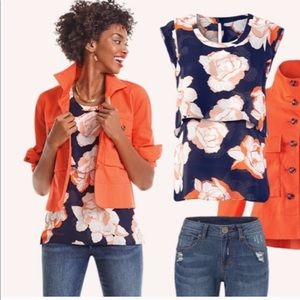 Cabi Navy Blue Blossom Tiered Blouse Sz S